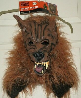 New Wolf Mask Soft Vinyl Full Adult Mens Womens Brown Werewolf Totally - Brown Wolf Mask
