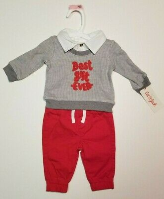 """Cat And Jack Baby Boy Infant 2 Piece Outfit  """"Best Gift Ever"""" NB 3-6 & 12M NWT"""