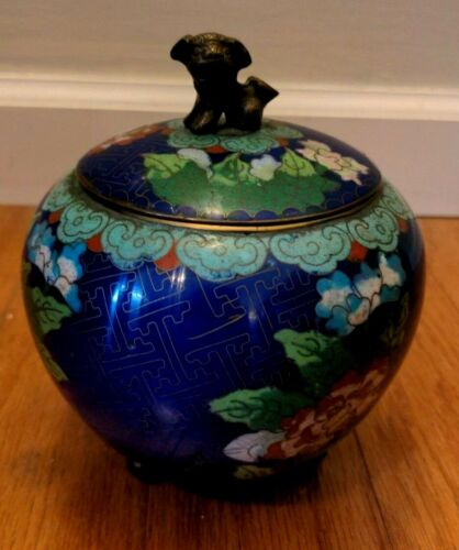 Vintage Cloisonne Enamel Chinese Asian Metal Footed Covered Bowl Foo Dog