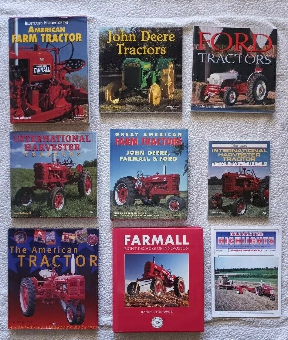 Lot of 8 Tractor related books and one Harvester Highlights Magazine