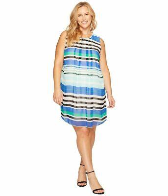 Calvin Klein Plus Women's sz 20W Pleated Crewneck Sheer Layered Aqua Shift Dress