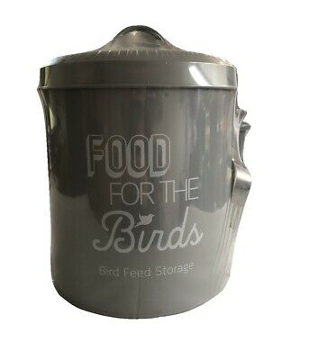 Bird Food Feed Storage Tin with Scoop Metal Birds Feeding Holder Seed Bin - Grey