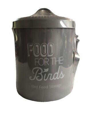 Bird Food Feed Storage Tin with Scoop Metal Birds Feeding Holder Seed Bin - Grey
