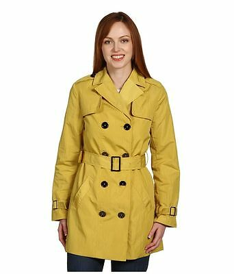 $199 AK Anne Klein Yellow Double Breasted Belted Lined Trench Coat Jacket M