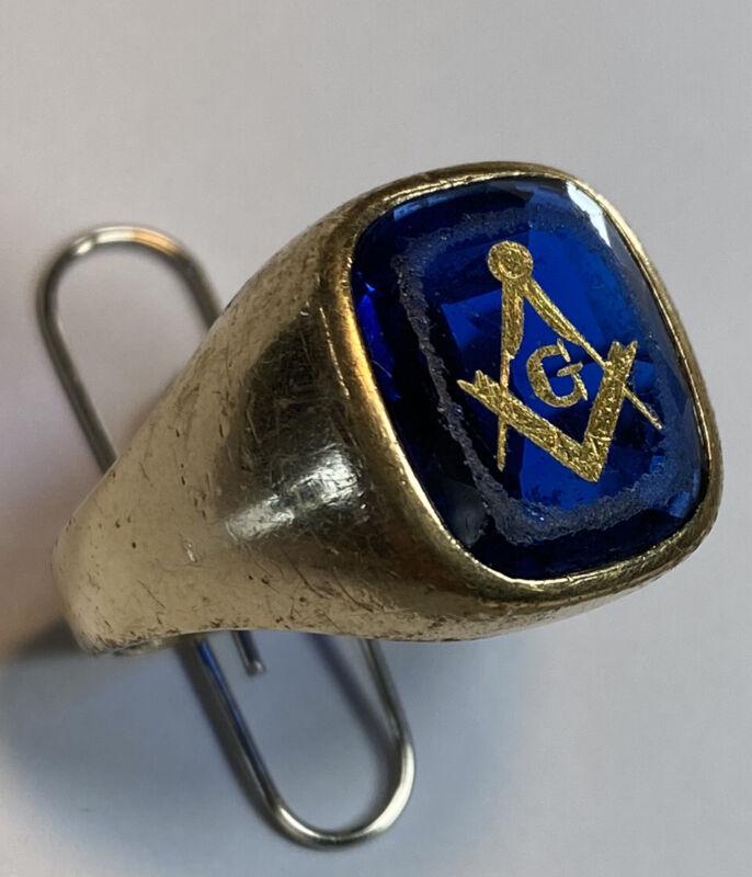 Vintage Masonic 10K Gold Compass Measure Blue Engraved Stone Ring Sz 10.25 10.5