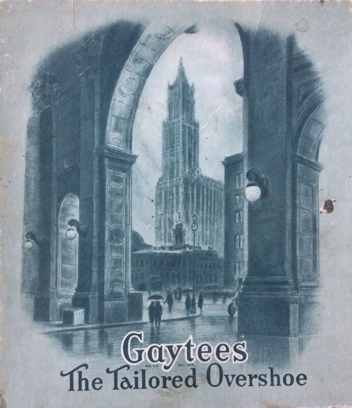 """Vtg 1929 GAYTEES """"The Tailored Overshoe"""" Shoe Box Lid/Great for Decorative Arts"""