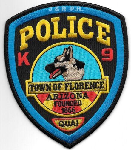 """Florence  K-9 Unit, Arizona (4"""" x 4.75"""" size) shoulder police patch (fire)"""