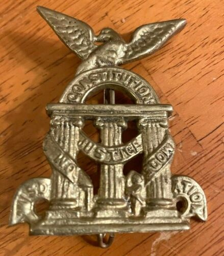 vintage ORIGINAL CIVIL WAR~GEORGIA STATE SEAL~BRASS HAT INSIGNIA pin CONFEDERATE