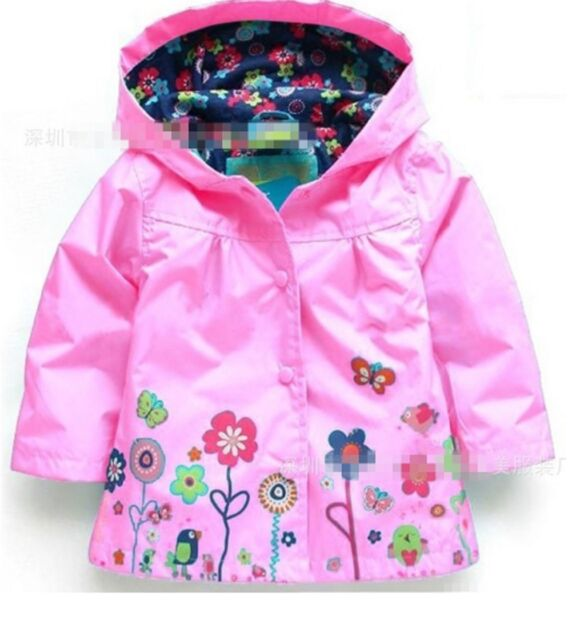 Girls Hood Rain Coat Jacket Windbreaker Spring Summer Mac Raincoat ...