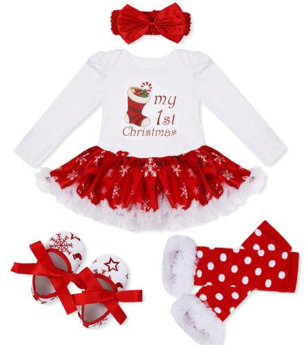 Newborn Christmas Girl Romper Baby Clothes Top Pants Tutu Dress Outfit Xmas Set