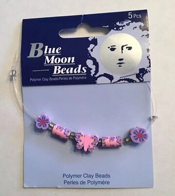 BLUE MOON BEADS ~  Polymer Clay Beads ~ Pink Purple ~ Butterfly Flower ~ 5 pcs
