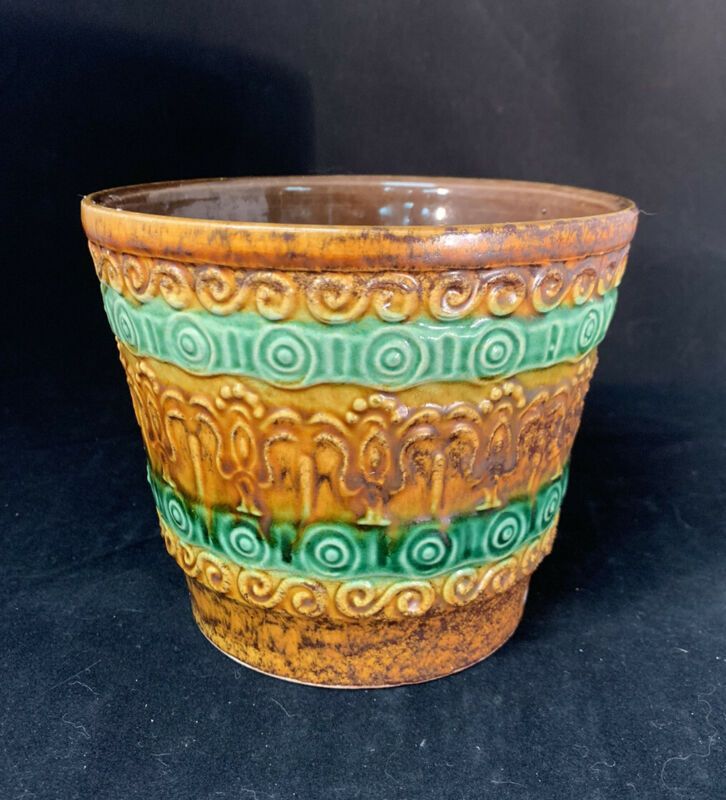 Vintage Robinson Ransbottom Pottery Planter Green And Brown 274/75