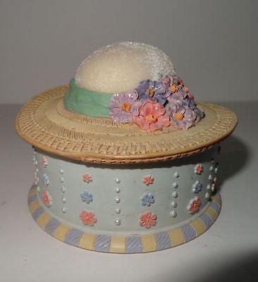 Russ Berrie Hat Pin Cushion Trinket Box Feeling Fashionable Hand Painted