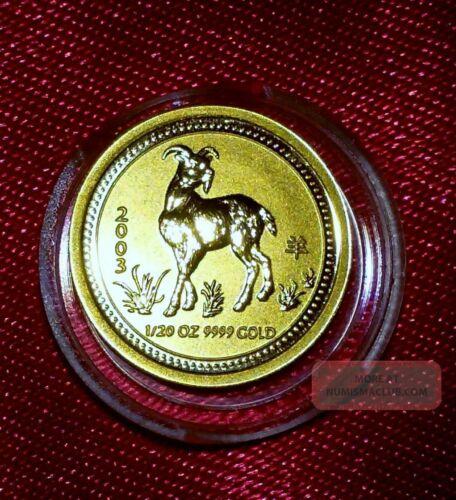 2003 Australia 1/20 oz $5 GOLD Lunar Year of the Goat in perth mint capsule