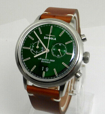 Men's SHINOLA 42mm The Bedrock Green Chronograph Chrono Watch Detroit Built