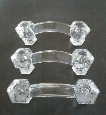 "3 MEDIUM 1.25/"" CLEAR GLASS Kitchen Cabinet Drawer Knobs Vintage Depression"