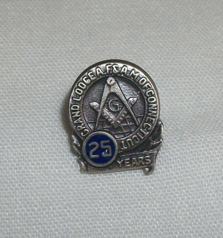 Vintage Sterling Silver Masonic Pin Grand Lodge of Connecticut 25 Years