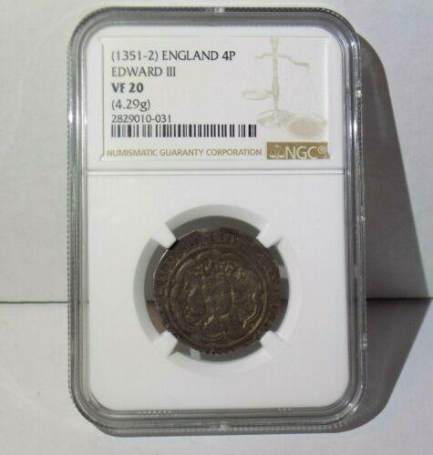 EDWARD III ENGLAND 4P 1351-2 Groat NGC VF20 English Fourpence Certified Coin