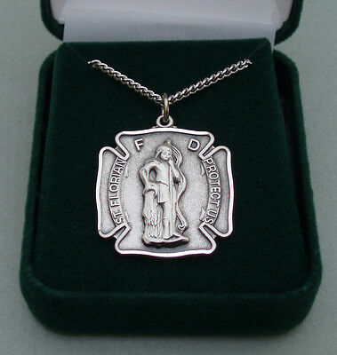St. Florian Sterling Silver Pendant ( Firefighter ) With Chain.