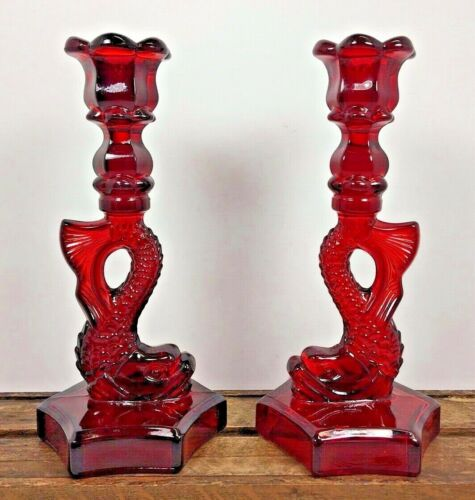 Vtg Ruby Red WESTMORELAND DOLPHIN Glass Pair Candle Holder Candlestick Koi fish