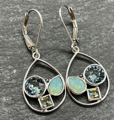 Vintage 925 Sterling Silver Drop Dangle Earrings Blue Glass Geometric Stones