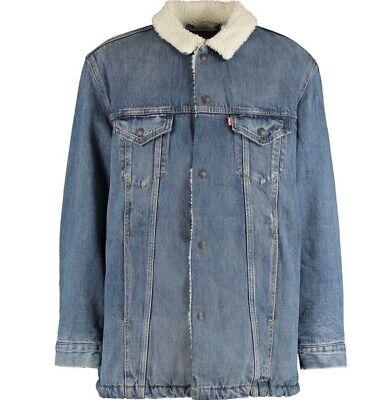 BRAND NEW! LEVIS Blue Washed Denim Sherpa Long Jacket  Size L RRP £115