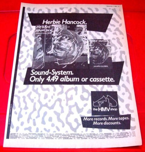 "Herbie Hancock Sound-System Vintage ORIG 1984 Press/Magazine ADVERT 11.5""x 8.5"""
