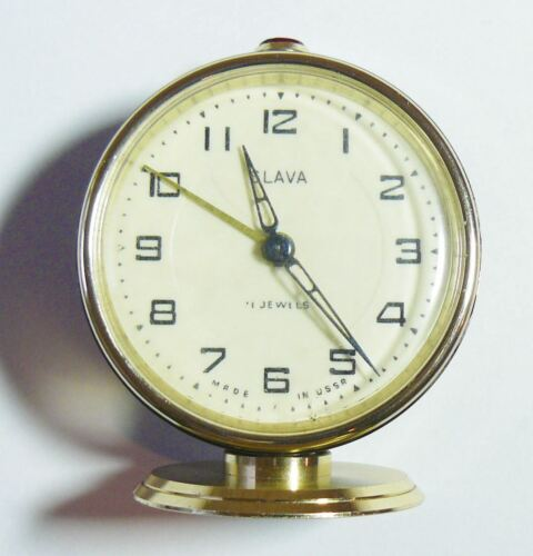 Serviced Russian Soviet Vintage Alarm Clock Slava  Working 11 Jewels USSR