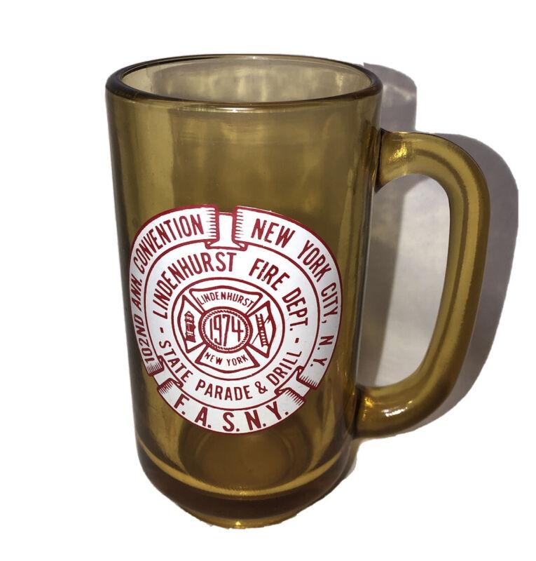 Lindenhurst NY Beer Mug Annual Parade & Drill vintage glass Fire Dept. New York