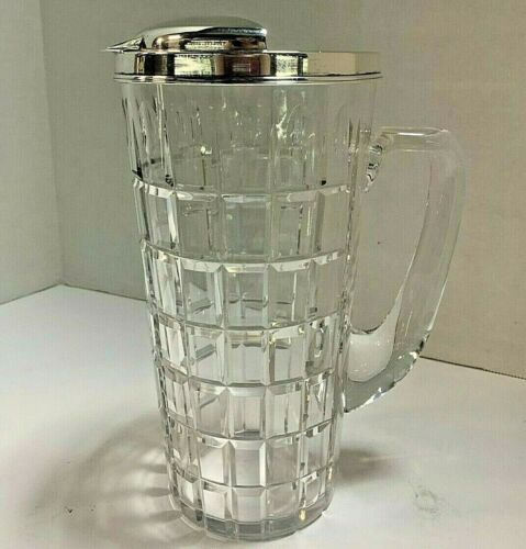 HAWKES CLEAR CUT CRYSTAL AND STERLING SILVER MARTINI PITCHER