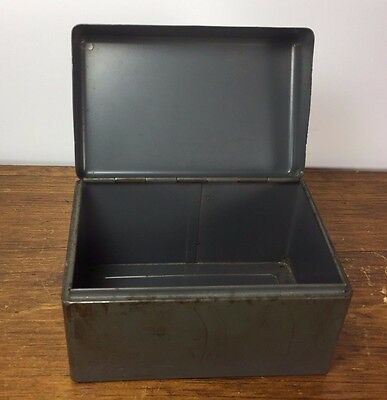 Vtg Cole C35 Metal 3x5 Index Card Box Holder Industrial Desk Office - Distressed