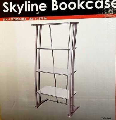 Z-Line High-Tech Bookcase: Steel and Frosted Tampered Safety (High Tech Glasses)