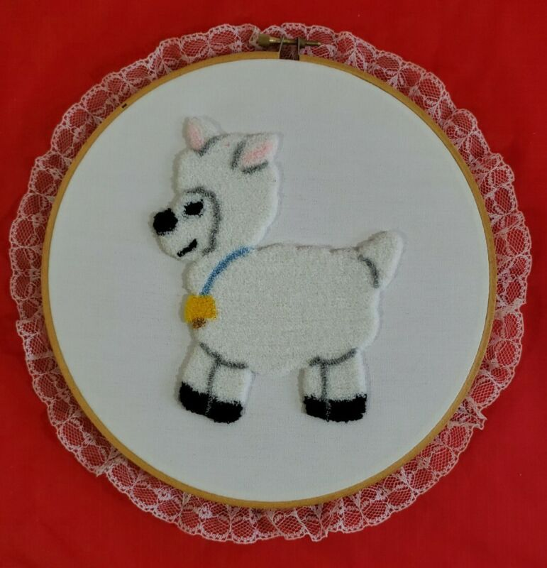 """Vintage Completed Punch Needle White Lamb Framed In  8"""" Hoop"""