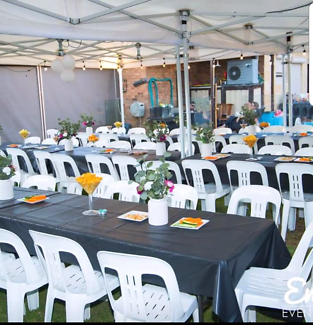 Marquee table and chairs hire