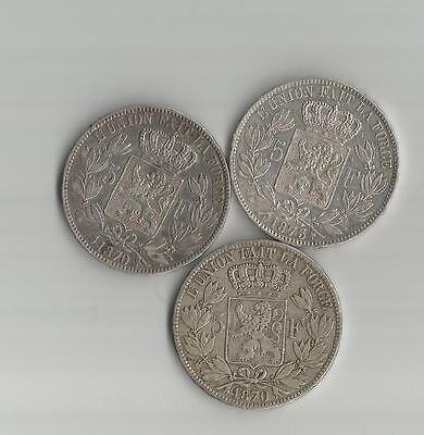 LEOPOLD II -5 FRANCS - ROI DES BELGES - 1870+ 1870 + 1873 -  SILVER***