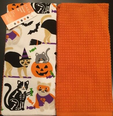 Set Of 2 Halloween Cats In Costume Orange Bats Kitchen Dish Hand Towels Cloths](Cats In Costumes Halloween)