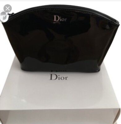 CHRISTIAN DIOR BLK PATENT FAUX LEATHER MAKEUP COSMETIC CASE BAG brand new in box