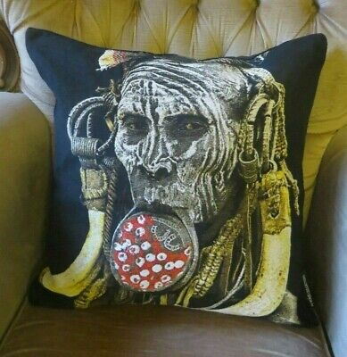 HIGH END AFRICAN TRIBES MURSI WOMAN ETHIOPIA ETHNOGRAPHIC TAPESTRY CUSHION COVER