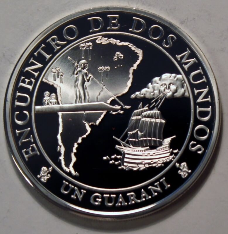 2002 Paraguay Large Proof Silver 1 Guarani Meeting of 2 worlds-Iberoamerican