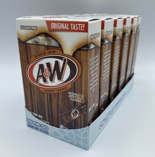 A&W Root Beer Lot of 6 Boxes SINGLES TO GO Drink Mix Sugar Free Caffeine Free
