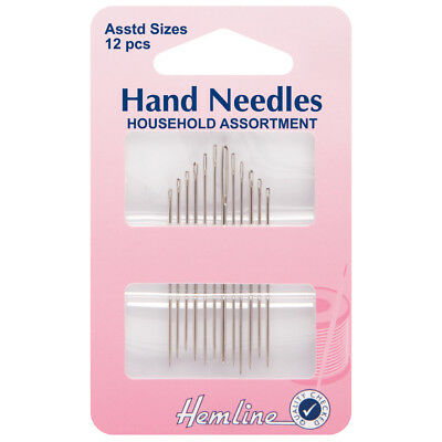 HEMLINE PACK OF 12 OF THE MOST POPULAR HAND SEWING NEEDLES INCLUDE WOOL /YARN BN