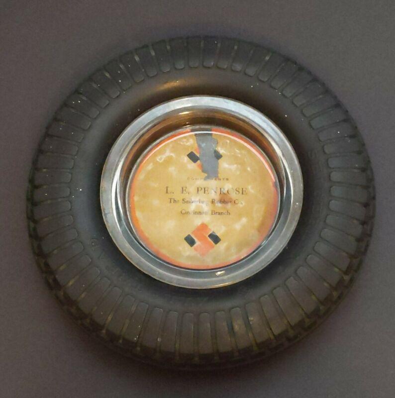 Vintage SEIBERLING All Tread Tire W/ Glass Ashtray L.E Penrose Cincinnati Branch