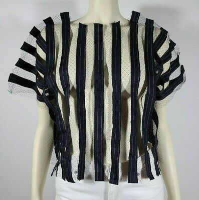 JULIEN DAVID Blue Black Striped Tulle Top