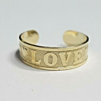 14k yellow gold adjustable toe ring.  Love and hearts. 14k Love Toe Ring