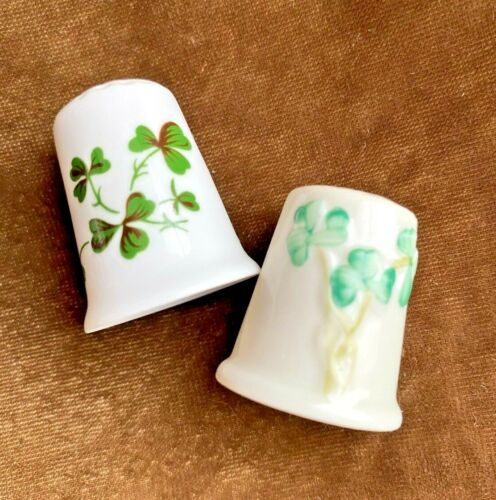 2 Shamrock Thimbels ~ One Signed Belleek and One Signed & Made in Wales