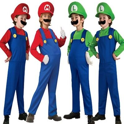 Boys Super Mario Luigi Brothers Bros Plumber Fancy Dress Up Party Costume - Luigi Costume For Boys