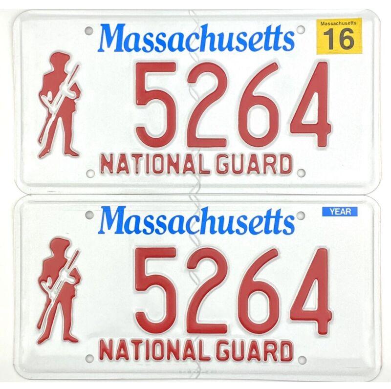 MINT 2016 Massachusetts NATIONAL GUARD License Plate PAIR #5624