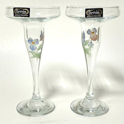 Vintage Pasabahce Fine Turkish Blown Glass Candlestick Holder Pair