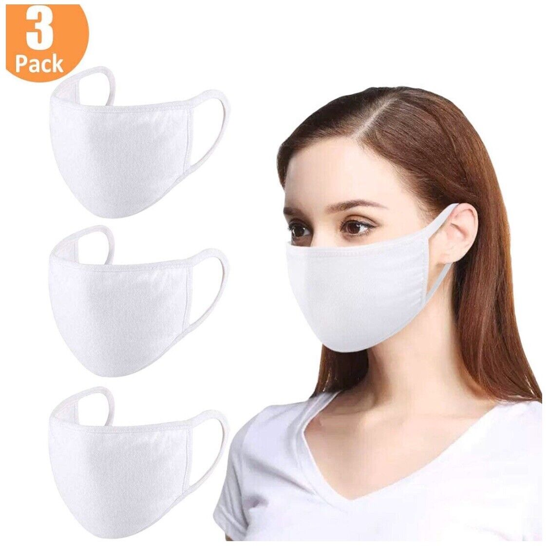 Face Mask Antimicrobial Premium Cotton, Two Layers with Pocket Filter, Pack of 3 Accessories