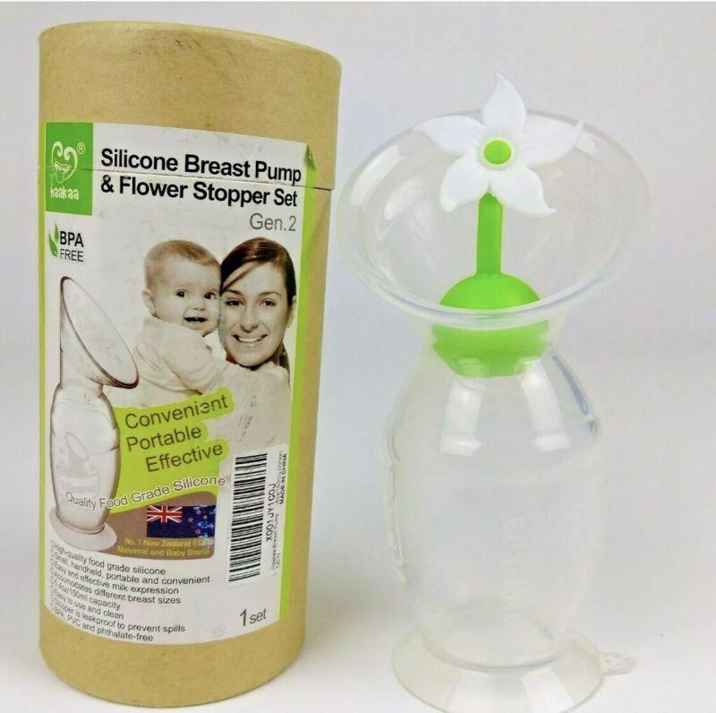 Haakaa Silicone Breast Pump & White Flower Stopper Gen 2 Set 150 Mil Bpa Free